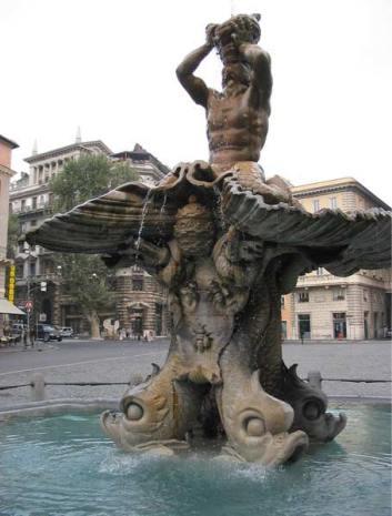 Fonte do Trintone, na praça Barberini. Foto: divulgação.