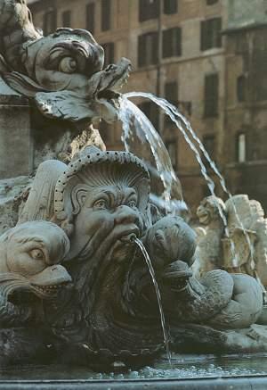 Fonte da Rotonda, situada na praça da Rotonda, em frente ao Panteão. Foto: divulgação.