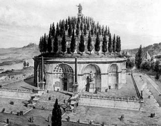 Ilustração que mostra a original aparência do Mausoléu. Foto: divulgação.