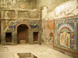 Casa de Nettuno e Anfitrite, em Herculano. Essa casa é assim conhecida por causa do grande mosaico preservado na sala principal. Foto: divulgação.