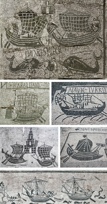 Exemplos de como seriam as frotas romanas. Foto: misteridelpassato.wordpress.com
