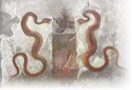 """Afresco encontrado em Pompeia, pertencente à """"Casa dell'Efebo"""". Trata-se supostamente de um abacaxi, representado entre duas serpentes. Foto: divulgação"""