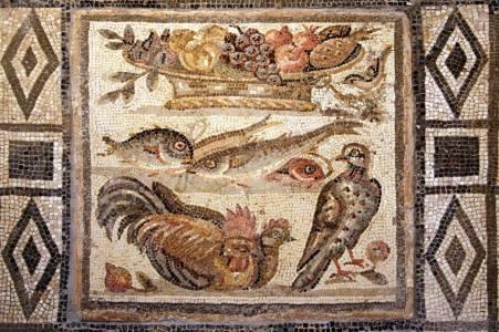 Mosaico de época augustea (Séc. I a.C), encontra-se no Museu Nacional de Roma. Podemos observar que no alto do cesto de frutas, aparece um estranho abacaxi. Foto: divulgação