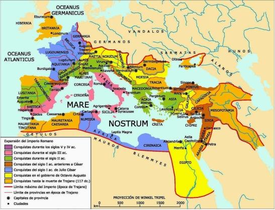 Mapa ilustrativo da suposta expansão romana. Podemos imaginar que essa expansão seria ainda mais além da região do Mare Nostrum. Foto: divulgação