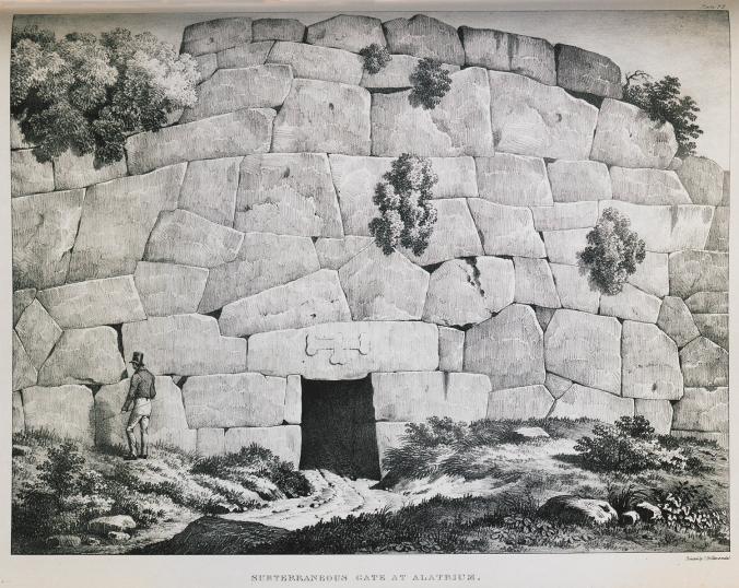 Desenho da Porta Menor de Alatri por Dodwell.