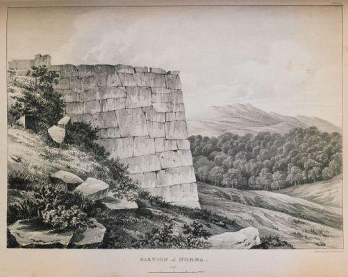 Gravura de um dos Muros de Norba realizada por Dodwell.